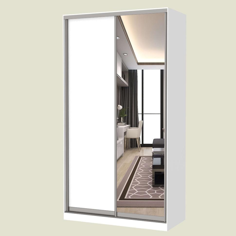 Шкаф-купе MILERI 2-х дверный 130х210х45 (ДСП + Зеркало) Белый (3845904)
