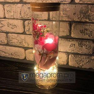 Роза в колбе с LED подсветкой розовая вечная стабилизированная под колбой подарок на 14 февраля девушке жене