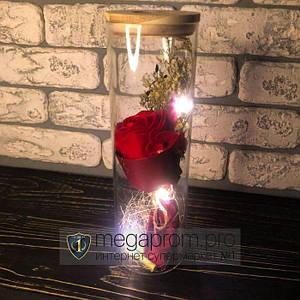 Роза в колбе с LED подсветкой красная вечная стабилизированная под колбой подарок на 14 февраля девушке жене