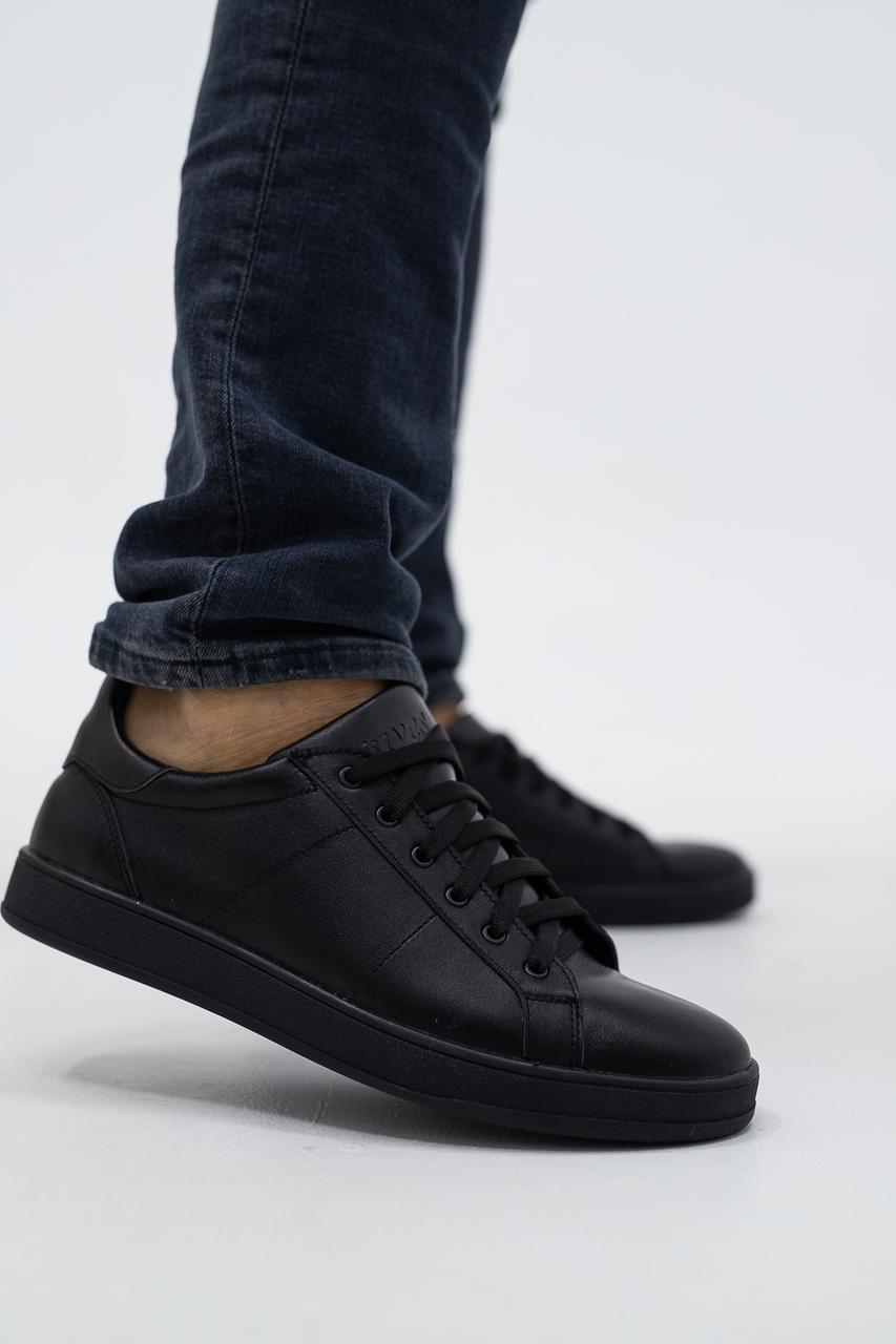 Мужские кеды кожаные весна/осень черные Yuves 211 Black Edition