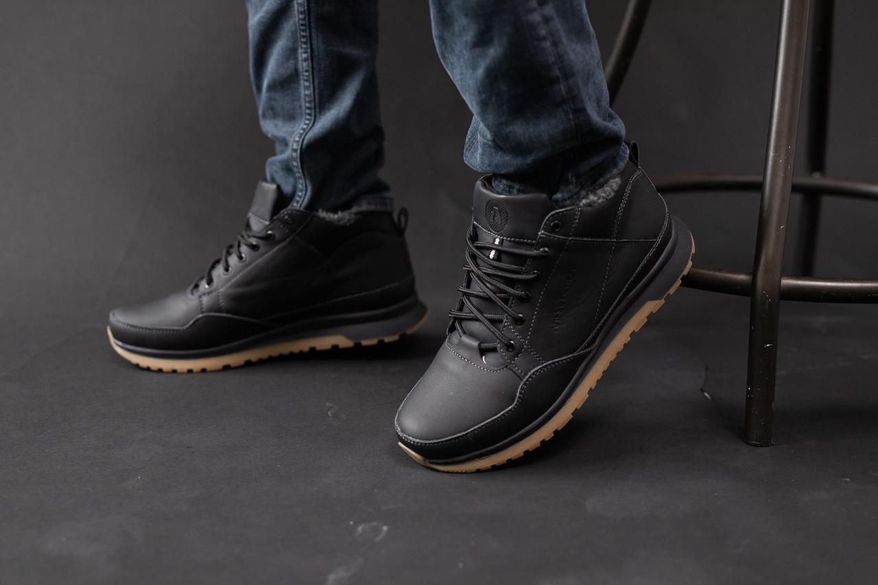 Мужские кроссовки кожаные зимние черные Anser 100