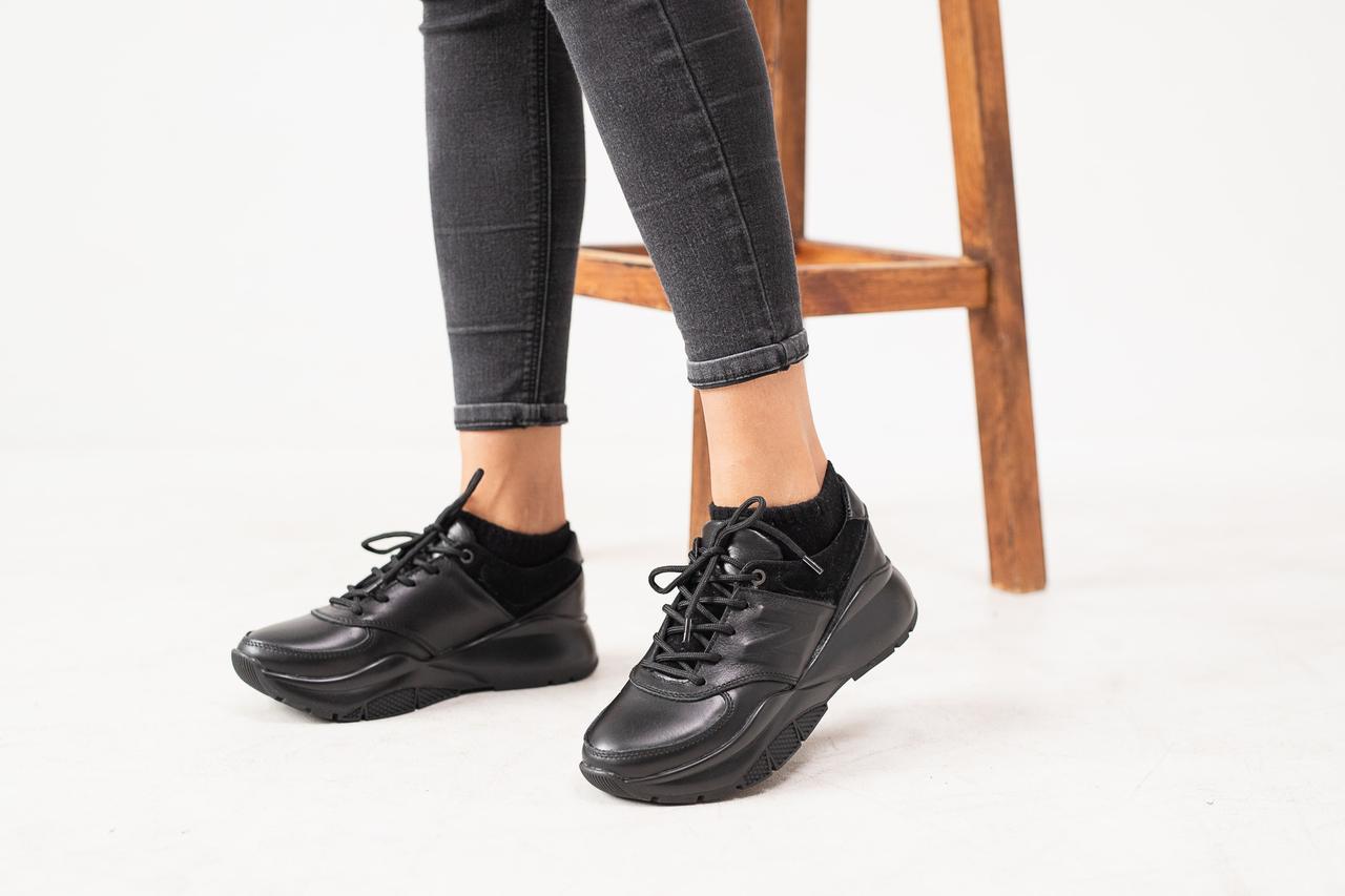 Женские кроссовки кожаные весна/осень черные Gepard 974