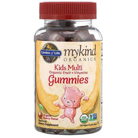 Мультивитамины для детей, вкус вишни, Kids Multi, MyKind Organics, Garden of Life, 120 веганских мармеладных, фото 2