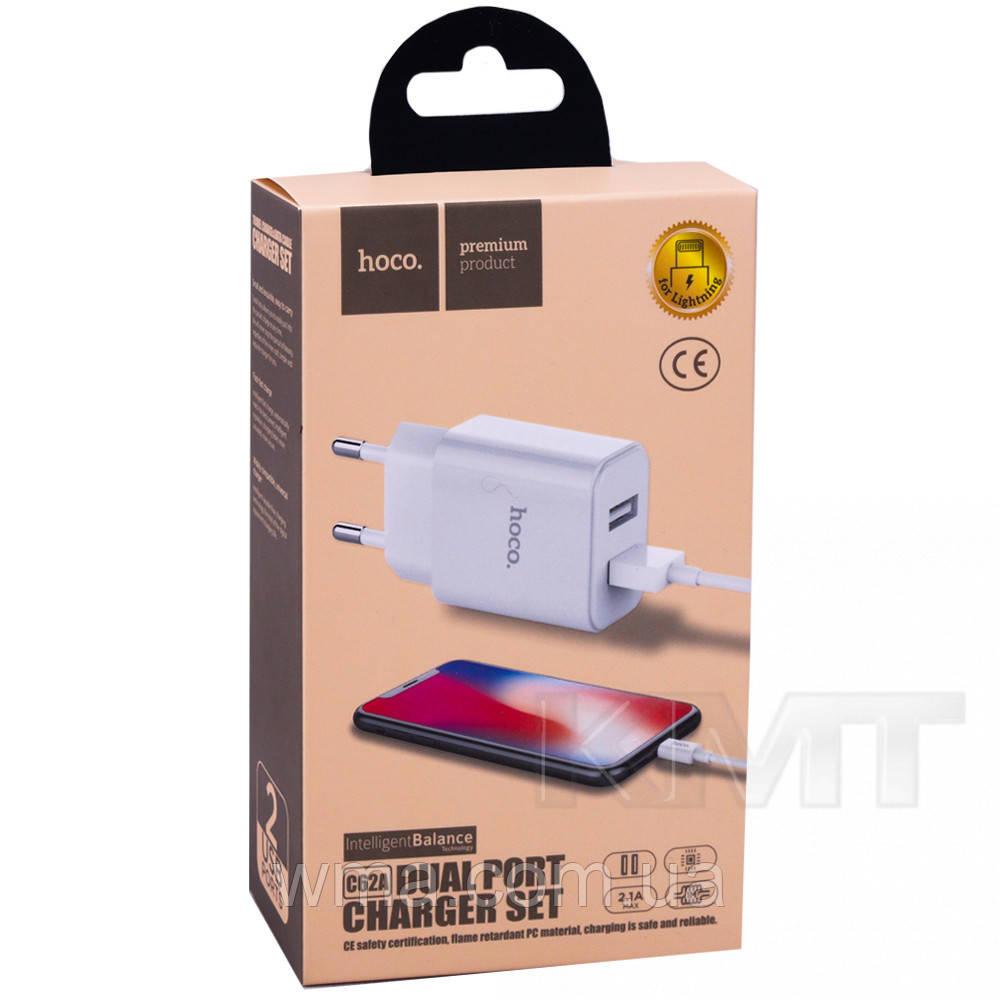 СЗУ и кабель Lightning « Hoco - C62A Victoria »  — 2 USB —  2.1A — (EU) White