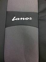 """Чехлы мод.Daewoo Lanos 96- (зад. горбы) черно-серые """"Автосвiт"""" (раздельная спинка)"""