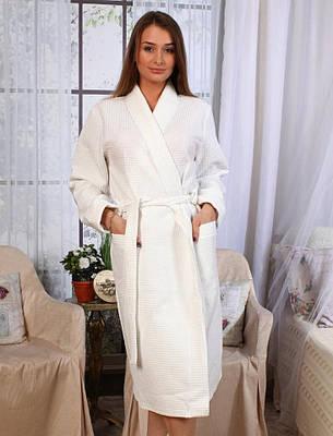 Вафельний халат Luxyart Кімоно М Білий (LS-0392)