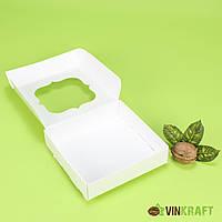 Коробка 120*120*30 для пряника з вікном, біла