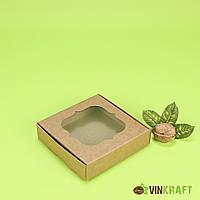 Коробка 120*120*30 для пряника з вікном, крафт