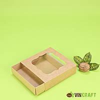 Коробка 120*120*30 для пряника з окном, крафт
