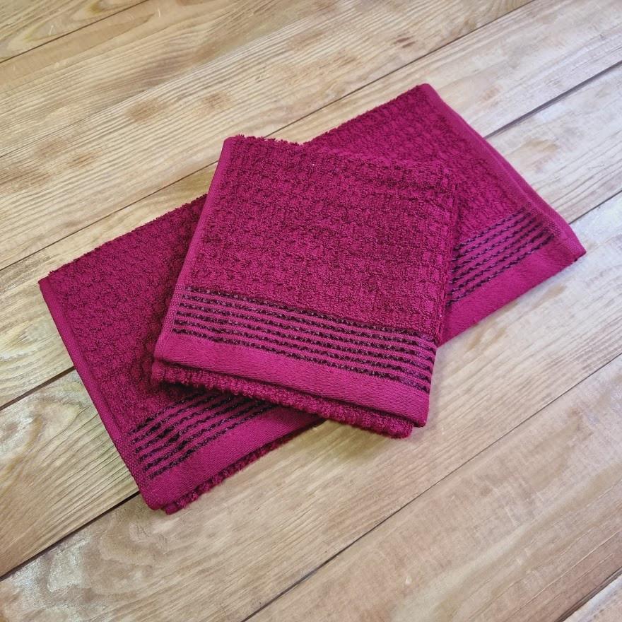 Полотенце махровое 30*50 см, цвет: бордовый