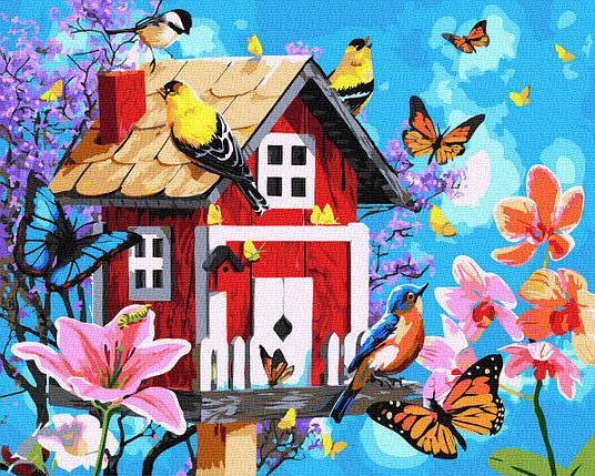 Картина за Номерами Милий будиночок і пташки з метеликами 40х50см RainbowArt, фото 2