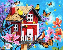 Картина за Номерами Милий будиночок і пташки з метеликами 40х50см RainbowArt