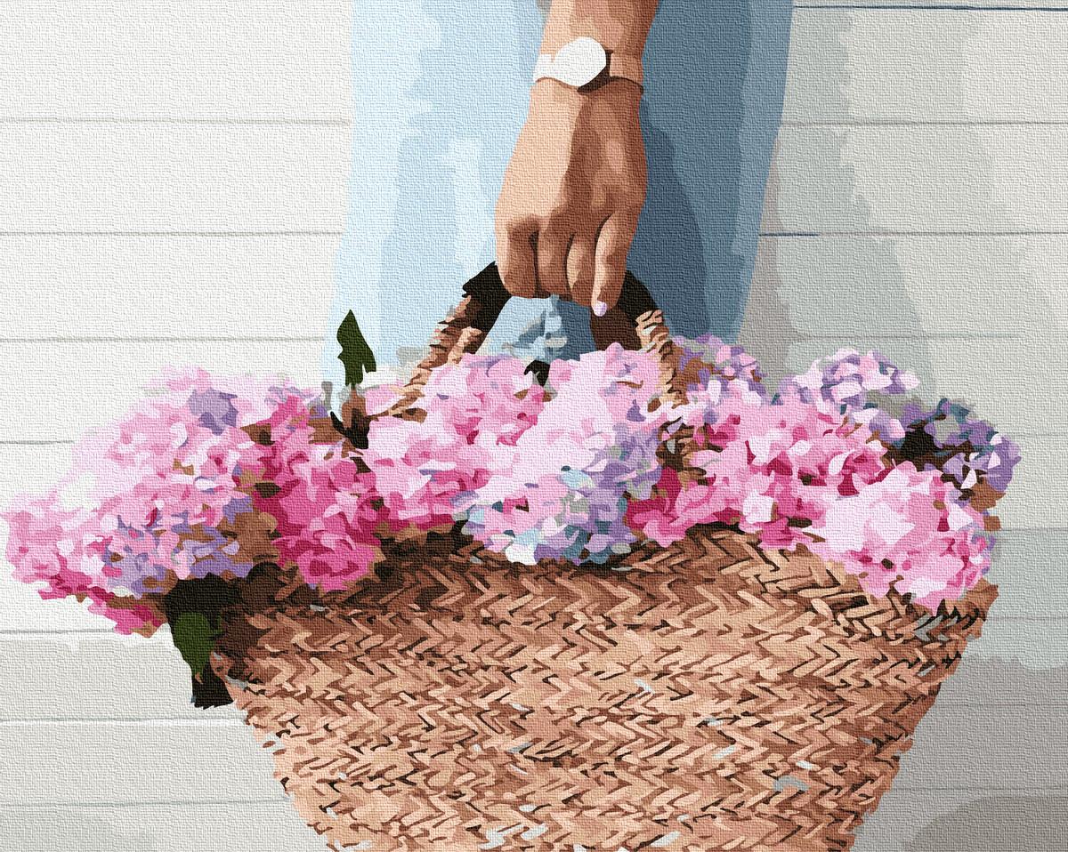 Картина по Номерам Корзинка с гортензией 40х50см RainbowArt