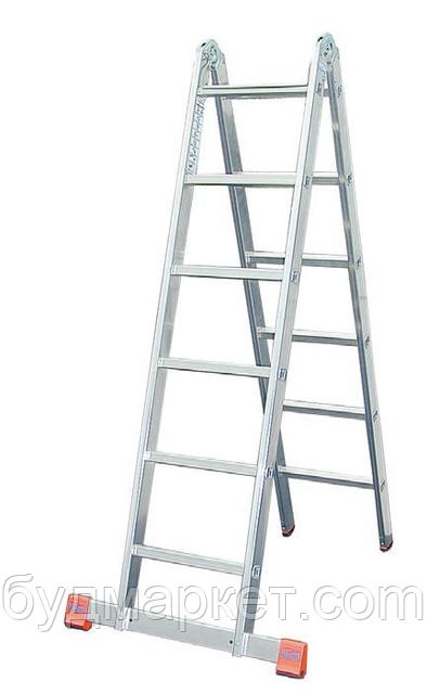 Лестница-трансформер алюминиевая бытовая KRAUSE Monto Trimatic 2*6 ступеней