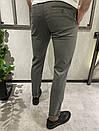 Мужские брюки однотонные серые, фото 3