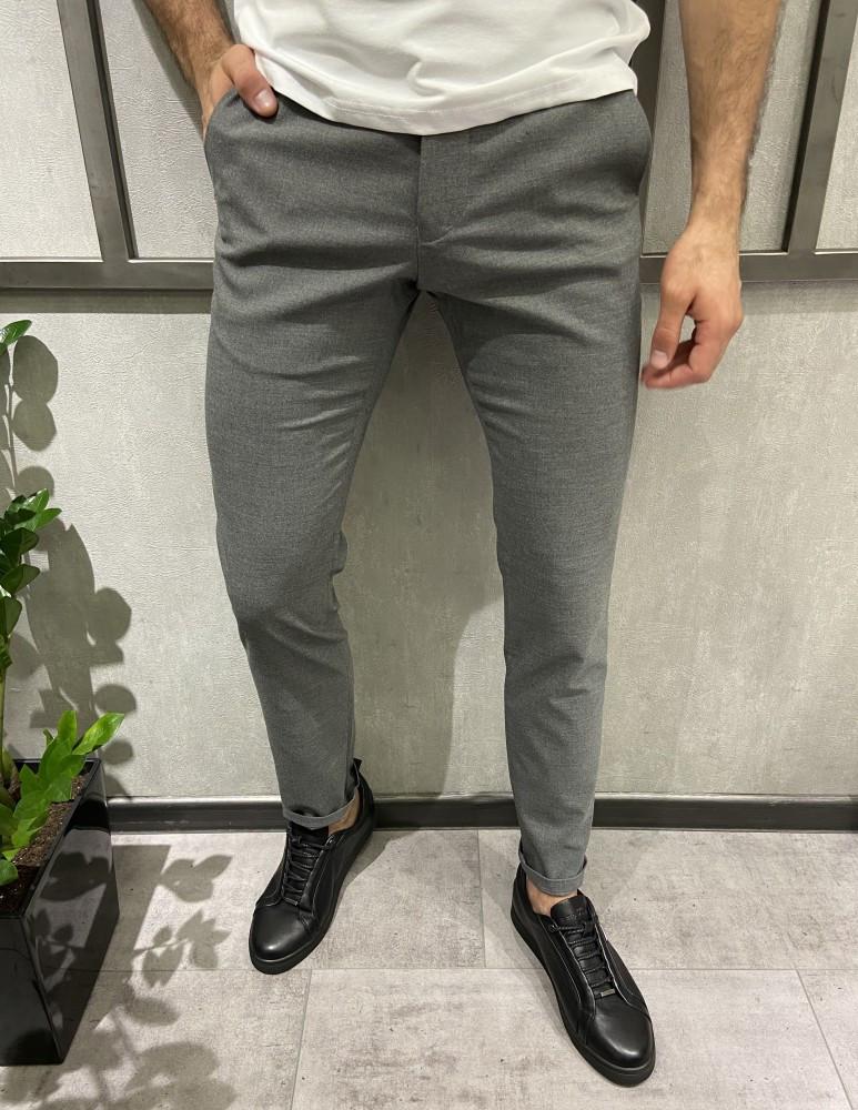 Мужские брюки однотонные серые