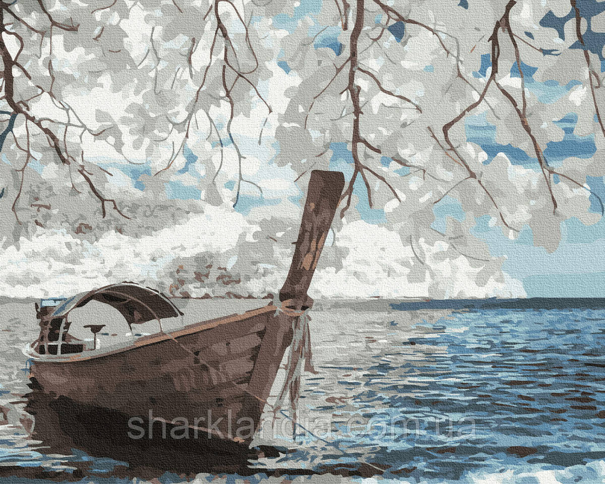 Картина по номерам Лодка на берегу 40х50см RainbowArt Пейзаж Природа Вода горы лодка море