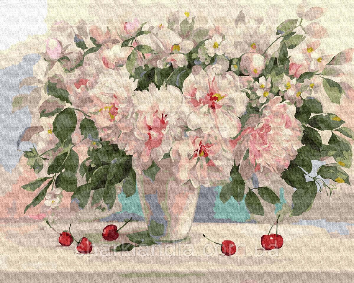 Картина за номерами Півонії і вишні 40х50см RainbowArt Квіти Букет Півонії