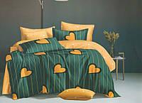 """Комплект постельного белья """"Оранжевое сердце"""", сатин (Евро на резинке)"""