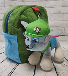 Детский рюкзак с мягкой игрушкой собачкой щенком зелёный Рокки