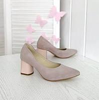Замшеві лілові туфлі на підборах, фото 1