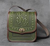 Женская кожаная сумка ручной работы (метод горячего тиснения), оливково-коричневая сумка 'Дубок', фото 1