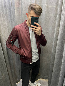 Мужская куртка-ветровка бордовая