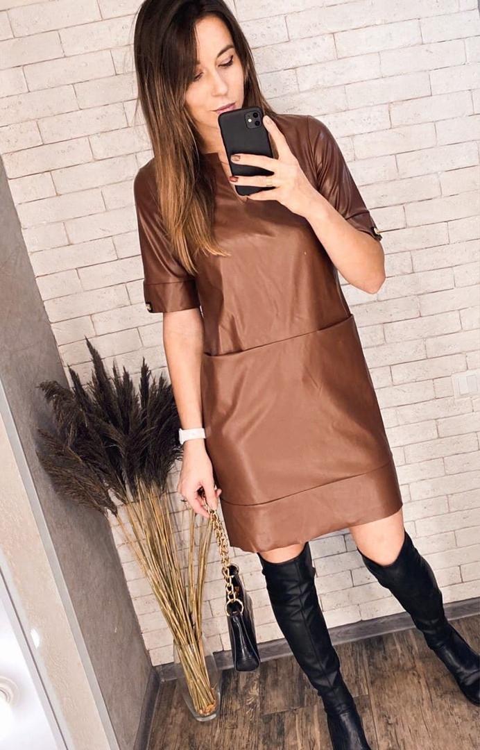 Кожаное платье с карманами