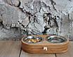 КІТ-ПЕС by smartwood Миски на підставці   Миска-годівниця металева для кішок котів кошенят XS - 2 миски, фото 6