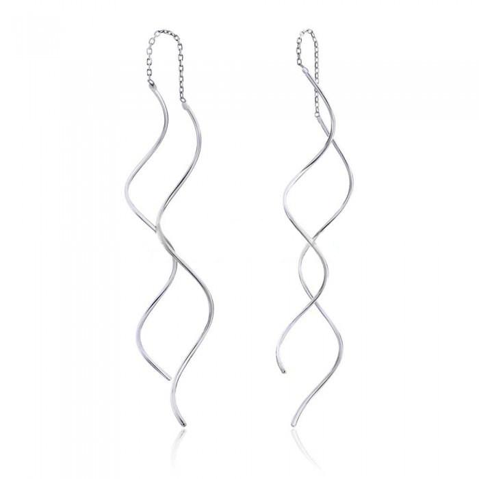 Серебряные серьги протяжки Спиральки