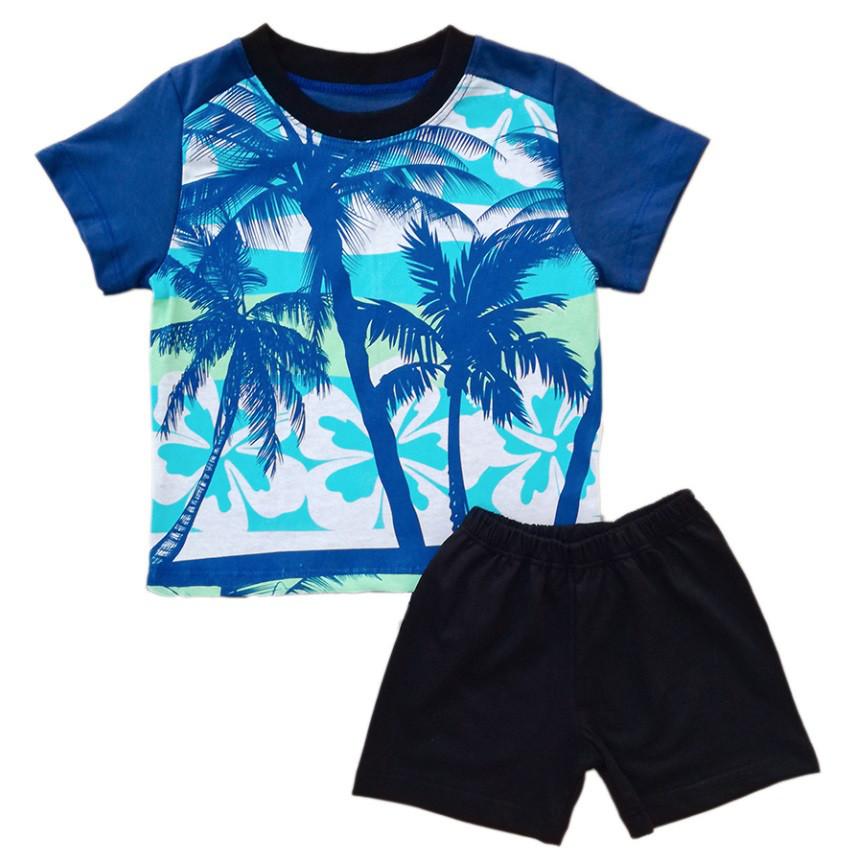 """Костюм для мальчика """"Пальмы"""", рост 104, цвет синий"""