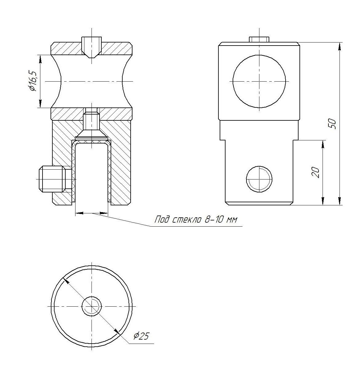 ODF-09-26-21 Крепление душевой штанги  16 мм для стекла накидное, регулируемое, сквозное, стеклодержатель черн
