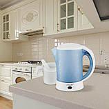 Электрический чайник дорожный с 2 чашками и ложками, фото 4