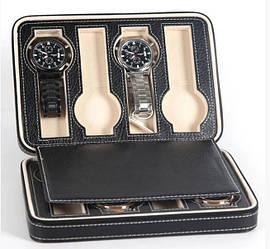Скринька шкатулка для зберігання наручних годин (8 годин) Чорний