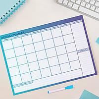 """Магнітний планер """"Monthly Planner"""" Indigo Blue, 30*42 cm, магнитный планер на холодильник, календарь"""