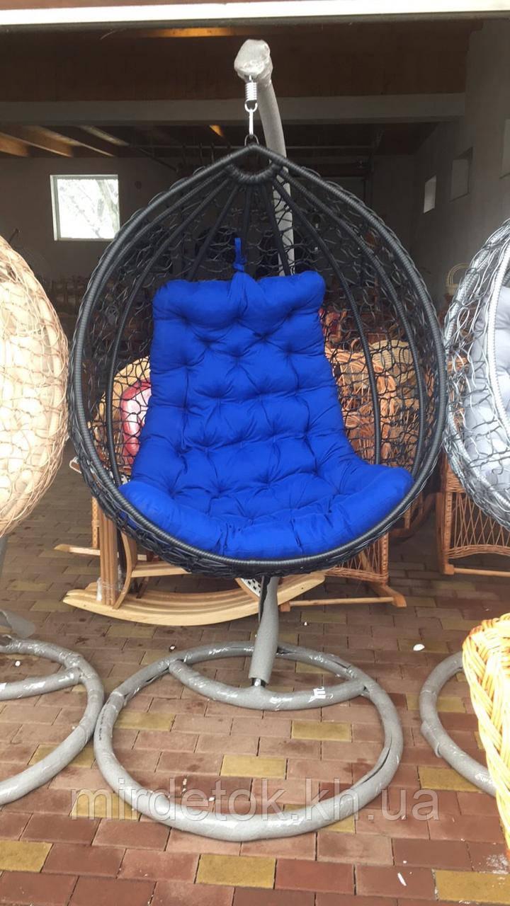 Кресло- кокон подвесное ротанг с матрасиком Blue