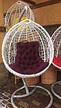 Кресло- кокон подвесное ротанг с матрасиком Blue, фото 6