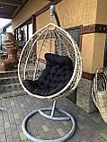 Кресло- кокон подвесное ротанг с матрасиком Blue, фото 7
