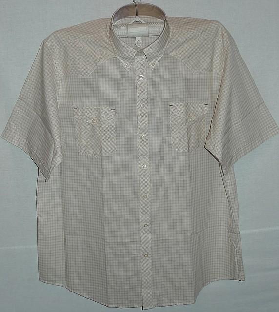 0e8bdd2de1373 Легкая летняя мужская рубашка Aygen Pronto Moda (Турция) (100% хлопок)  большого размера с коротким рукавом, в бежевую клетку, с воротником на  пуговицах и ...