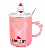Кружка с крышкой и ложной Merry Christmas Олень, фото 1