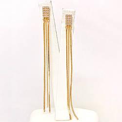 Серьги Xuping из медицинского золота, белые фианиты, позолота 18K, 25132