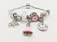 Браслет PANDORA нежно-розовый с слоником/цветочками + ПОДАРОК