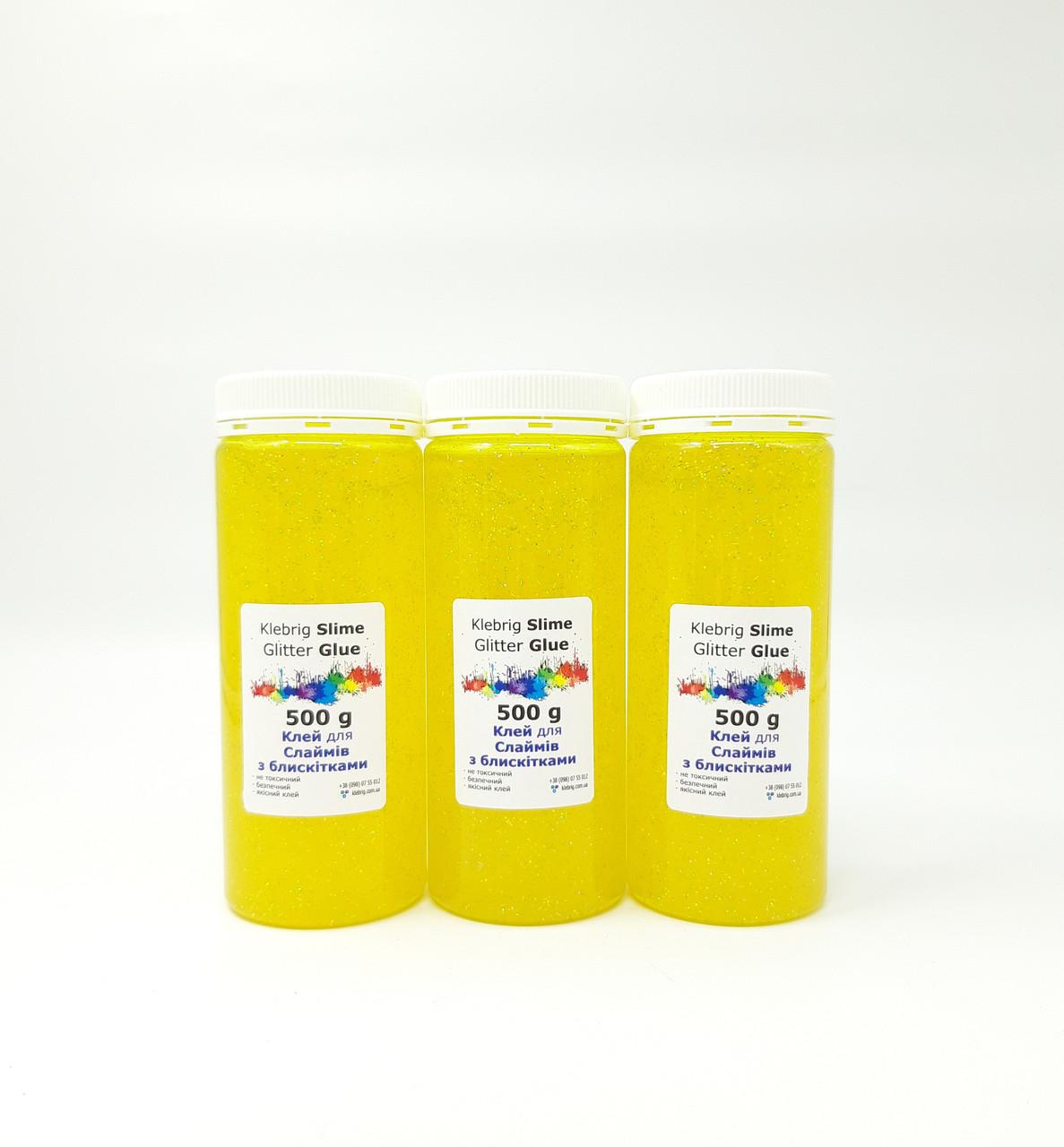Желтый клей для слайма 3шт по 500мл