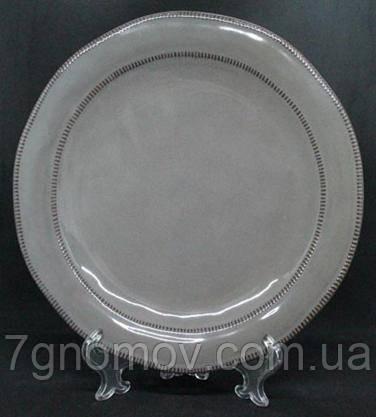 Набор 6 больших обеденных керамических тарелок серых Графит 27 см