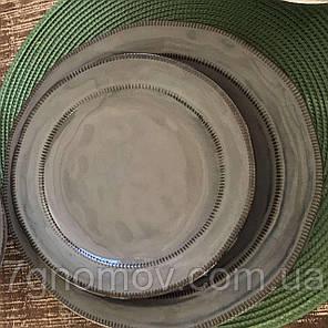 Набор 6 больших обеденных керамических тарелок серых Графит 27 см, фото 2