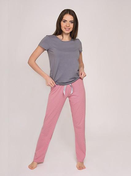 Одежда для сна Пижамы Ночное белье Vivioji  Серая футболка с розовыми штанами для сна