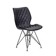 Стильный стул из эко-кожи черного цвета на тонких металлических черных ножках Nolan BK-ML