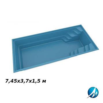 Стекловолоконная чаша FUN 74, 7,45х3,7х1,5 м