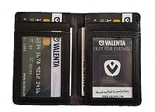 Кожаный кардхолдер Valenta с RFID защитой Черный (ок1496t)