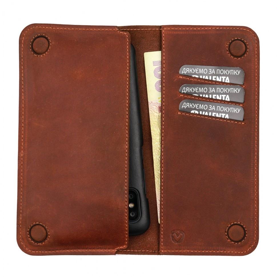 Шкіряний чохол-гаманець Valenta з відділенням для телефону до 6.5 Коньячний (1283182xlt)